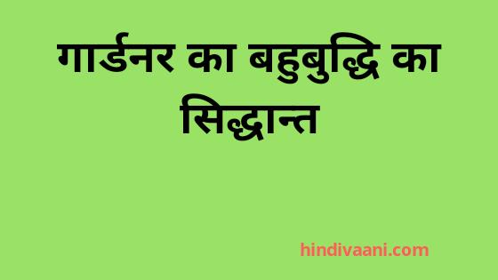 गार्डनर का बहुबुद्धि सिद्धान्त(Gardner theory of multiple intteligence in hindi)